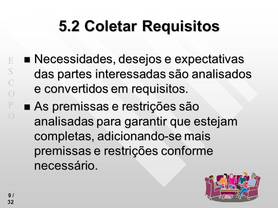 ESCOPOESCOPO 30 /32 5.6 Controlar o escopo Entradas.1 Plano de gerenciamento do projeto.2 Documentação dos requisitos.3 Matriz de acompanhamento dos requisitos.4 Relatórios de desempenho do trabalho.5 Ativos de processos organizacionais
