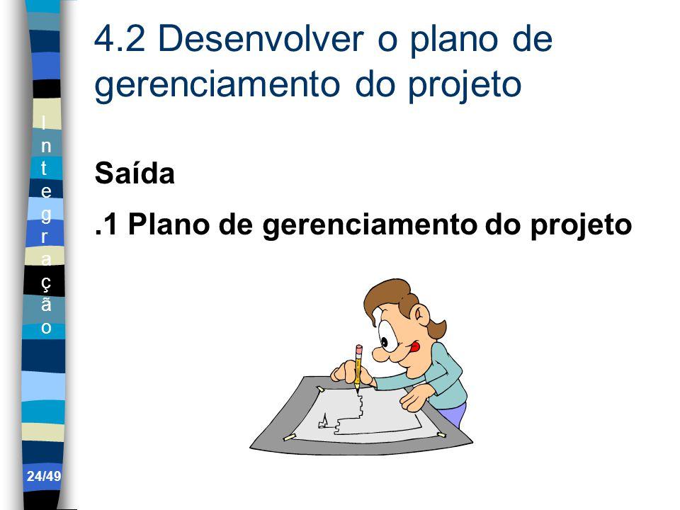 IntegraçãoIntegração 4.2 Desenvolver o plano de gerenciamento do projeto Saída.1 Plano de gerenciamento do projeto 24/49