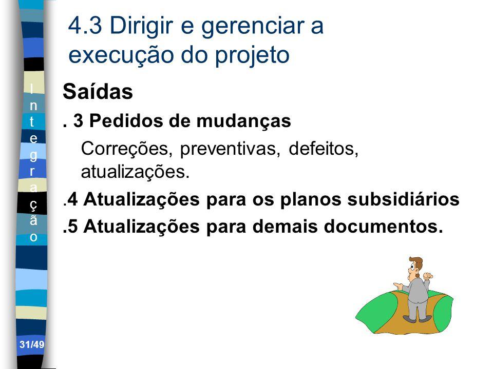 IntegraçãoIntegração 4.3 Dirigir e gerenciar a execução do projeto Saídas.