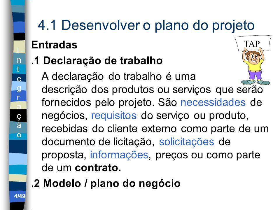 IntegraçãoIntegração 4.1 Desenvolver o plano do projeto Entradas.1 Declaração de trabalho A declaração do trabalho é uma descrição dos produtos ou serviços que serão fornecidos pelo projeto.