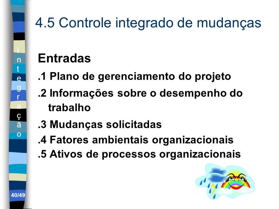 IntegraçãoIntegração 4.5 Controle integrado de mudanças Entradas.1 Plano de gerenciamento do projeto.2 Informações sobre o desempenho do trabalho.3 Mudanças solicitadas.4 Fatores ambientais organizacionais.5 Ativos de processos organizacionais 40/49