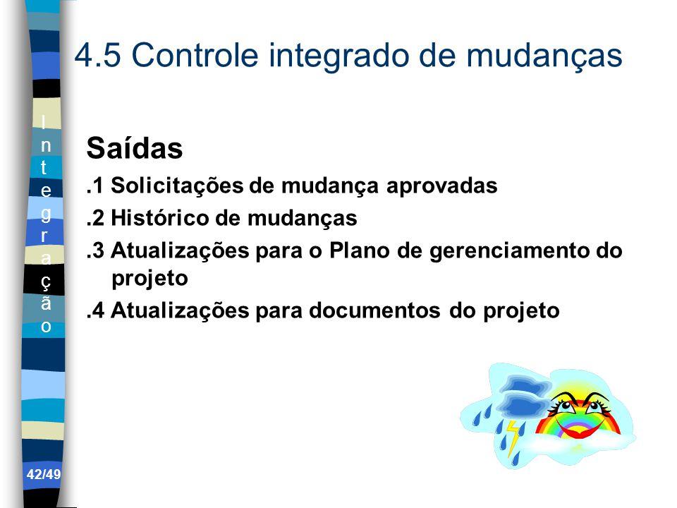 IntegraçãoIntegração 42/49 4.5 Controle integrado de mudanças Saídas.1 Solicitações de mudança aprovadas.2 Histórico de mudanças.3 Atualizações para o Plano de gerenciamento do projeto.4 Atualizações para documentos do projeto