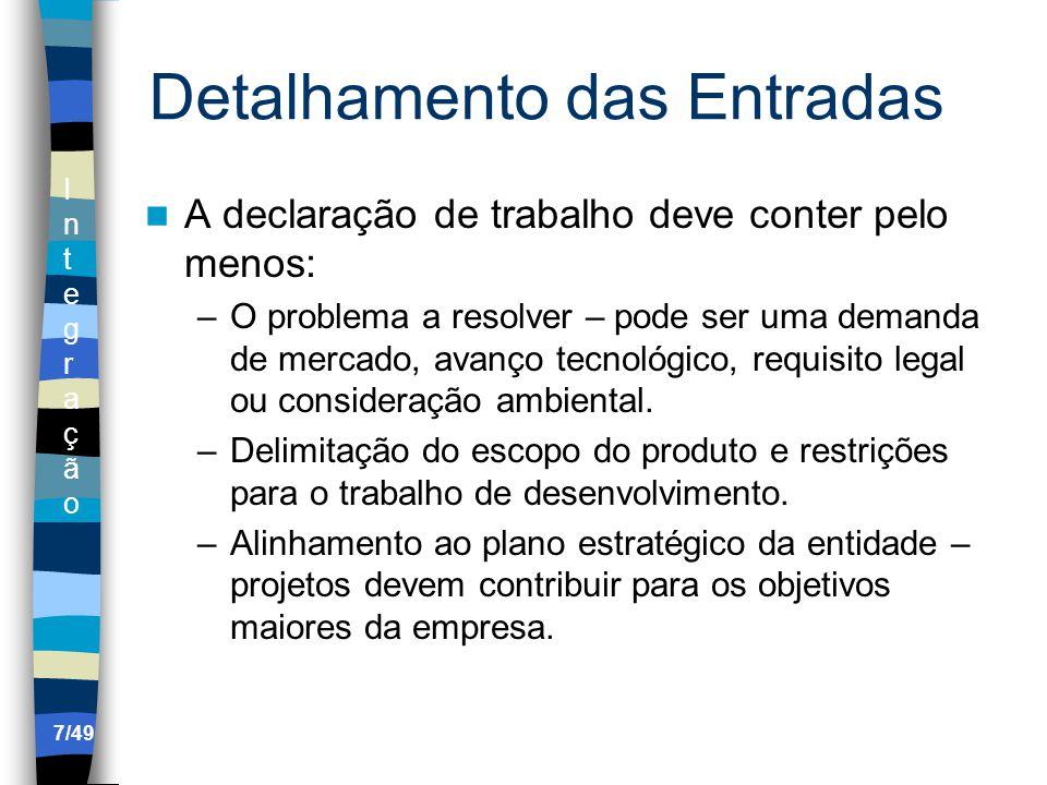 IntegraçãoIntegração 4.6 Encerrar o projeto ou fase Documentação da aceitação formal.