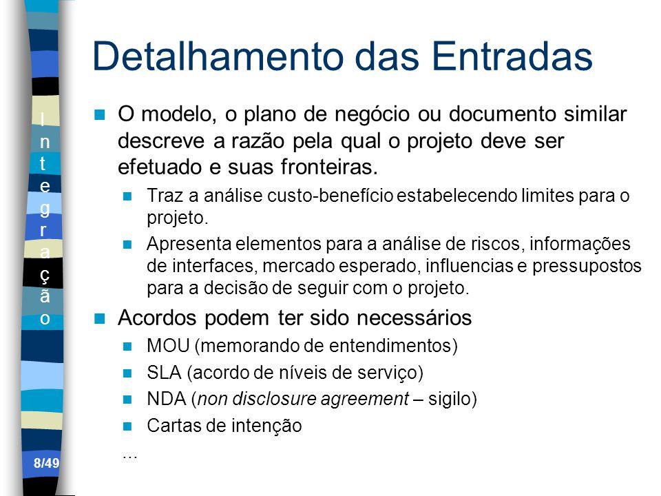 IntegraçãoIntegração Detalhamento das Entradas O modelo, o plano de negócio ou documento similar descreve a razão pela qual o projeto deve ser efetuado e suas fronteiras.
