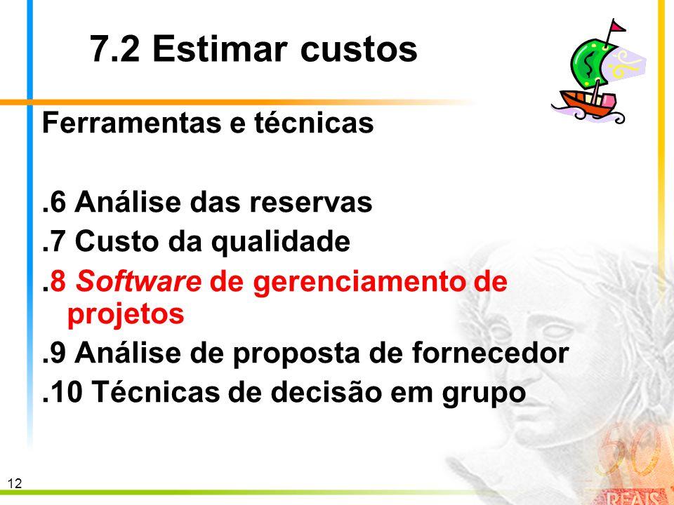12 7.2 Estimar custos Ferramentas e técnicas.6 Análise das reservas.7 Custo da qualidade.8 Software de gerenciamento de projetos.9 Análise de proposta