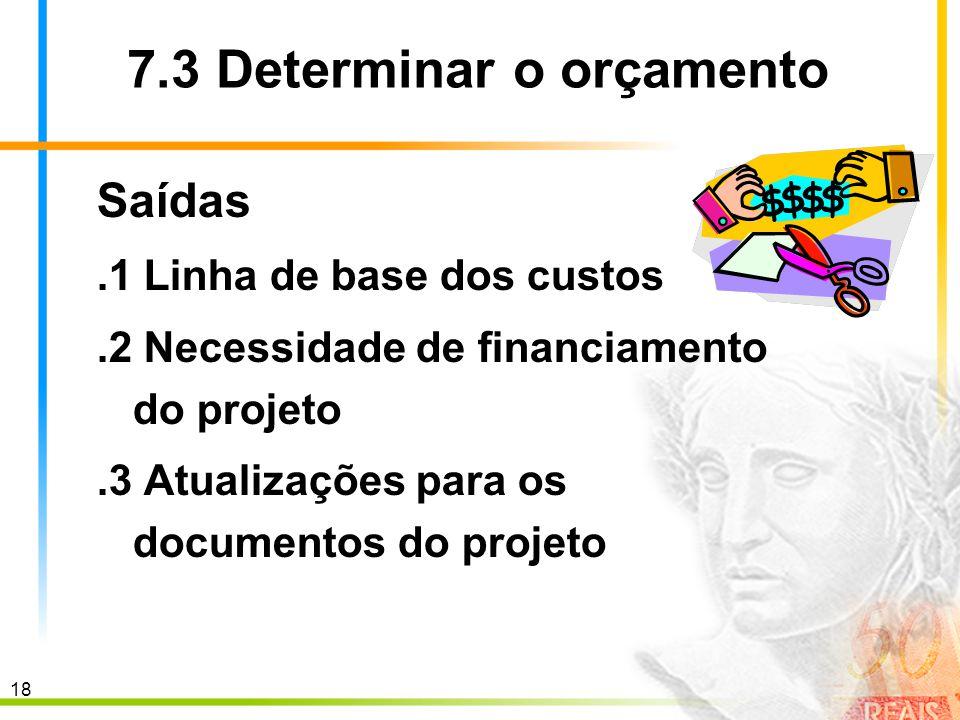 18 7.3 Determinar o orçamento Saídas.1 Linha de base dos custos.2 Necessidade de financiamento do projeto.3 Atualizações para os documentos do projeto
