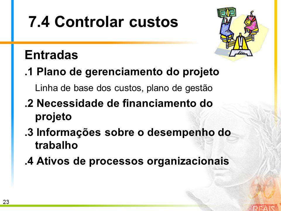 23 7.4 Controlar custos Entradas.1 Plano de gerenciamento do projeto Linha de base dos custos, plano de gestão.2 Necessidade de financiamento do proje