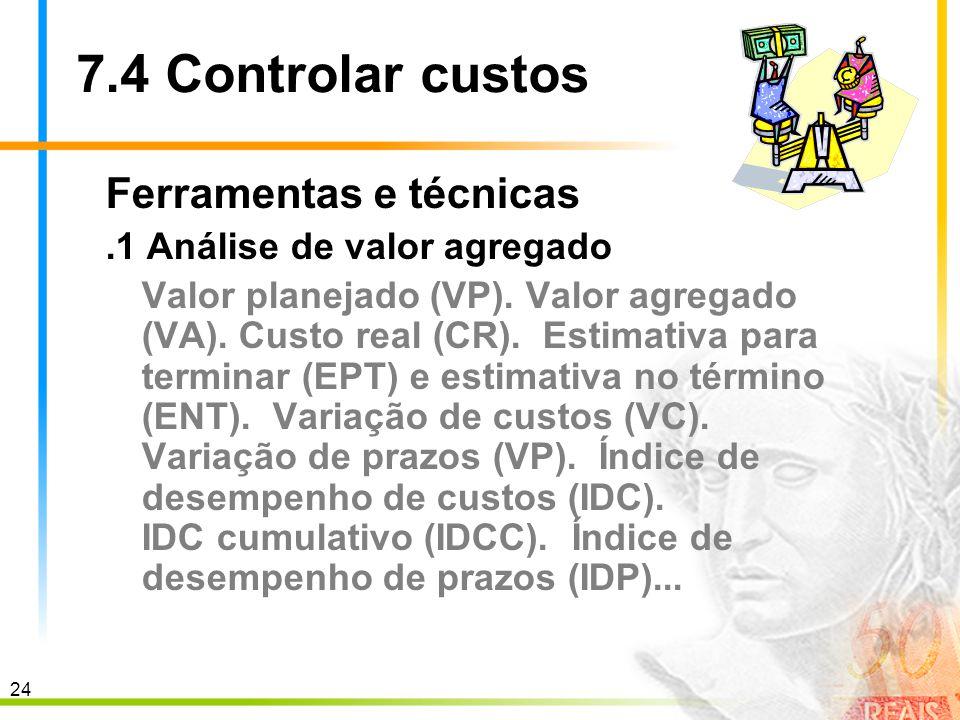 24 7.4 Controlar custos Ferramentas e técnicas.1 Análise de valor agregado Valor planejado (VP). Valor agregado (VA). Custo real (CR). Estimativa para