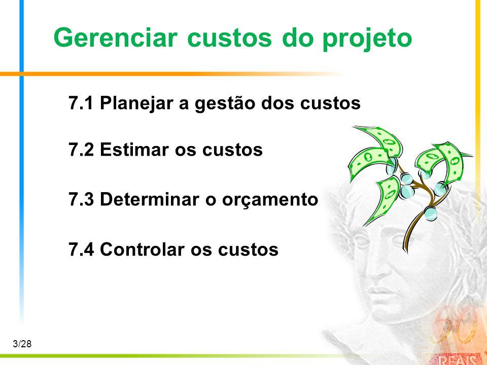 3/28 Gerenciar custos do projeto 7.1 Planejar a gestão dos custos 7.2 Estimar os custos 7.3 Determinar o orçamento 7.4 Controlar os custos