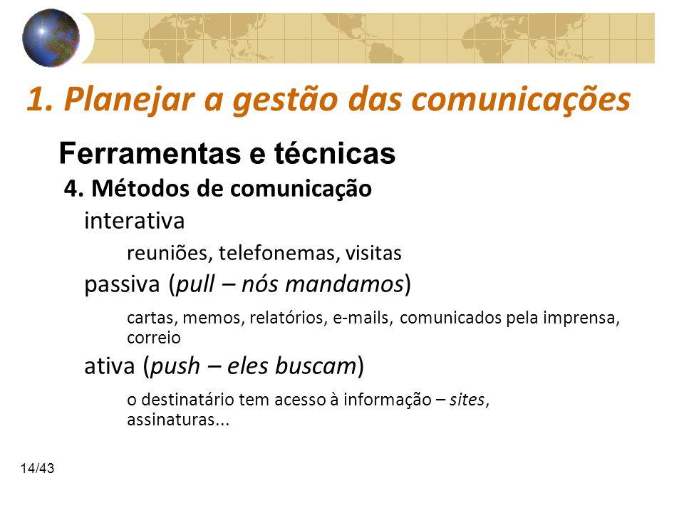 COMUNICAÇÕESCOMUNICAÇÕES 14/43 1. Planejar a gestão das comunicações Ferramentas e técnicas 4. Métodos de comunicação interativa reuniões, telefonemas
