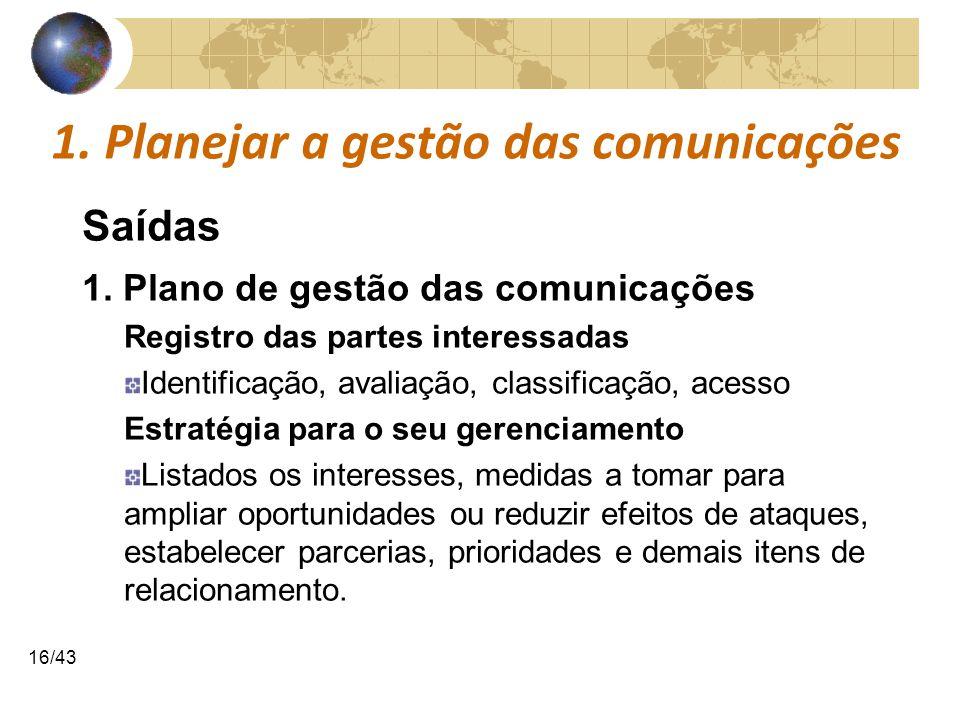 COMUNICAÇÕESCOMUNICAÇÕES 16/43 1. Planejar a gestão das comunicações Saídas 1. Plano de gestão das comunicações Registro das partes interessadas Ident