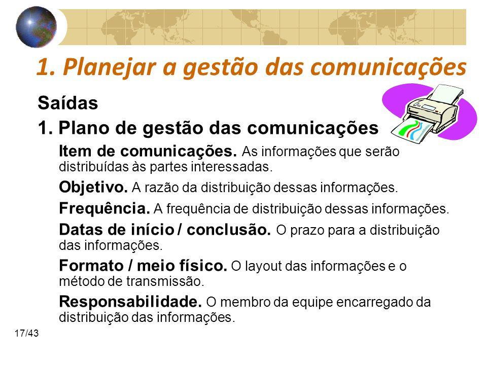 COMUNICAÇÕESCOMUNICAÇÕES 17/43 1. Planejar a gestão das comunicações Saídas 1. Plano de gestão das comunicações Item de comunicações. As informações q