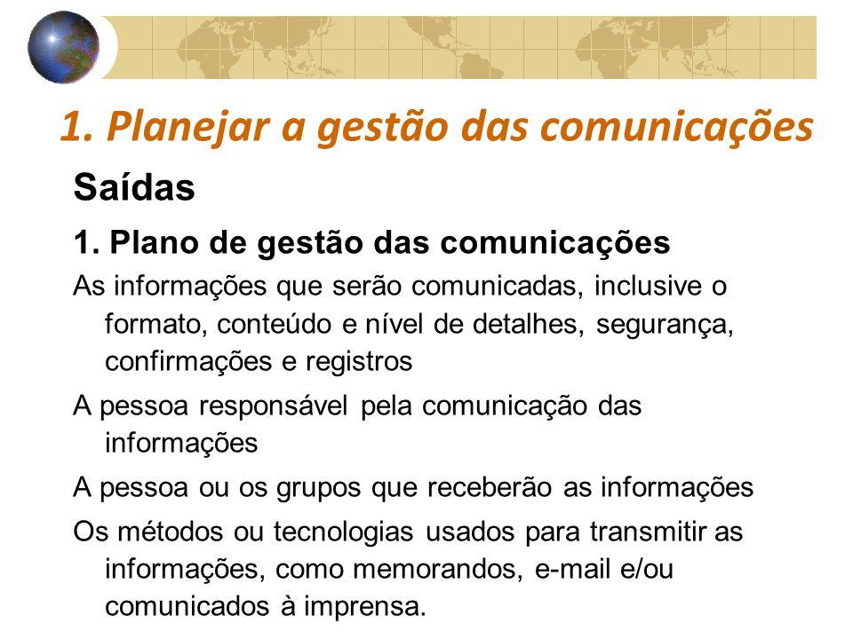 COMUNICAÇÕESCOMUNICAÇÕES 1. Planejar a gestão das comunicações Saídas 1. Plano de gestão das comunicações As informações que serão comunicadas, inclus