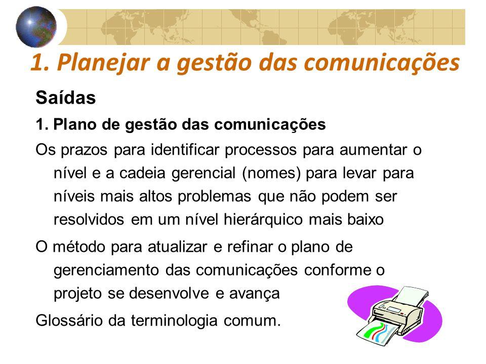 COMUNICAÇÕESCOMUNICAÇÕES 1. Planejar a gestão das comunicações Saídas 1. Plano de gestão das comunicações Os prazos para identificar processos para au