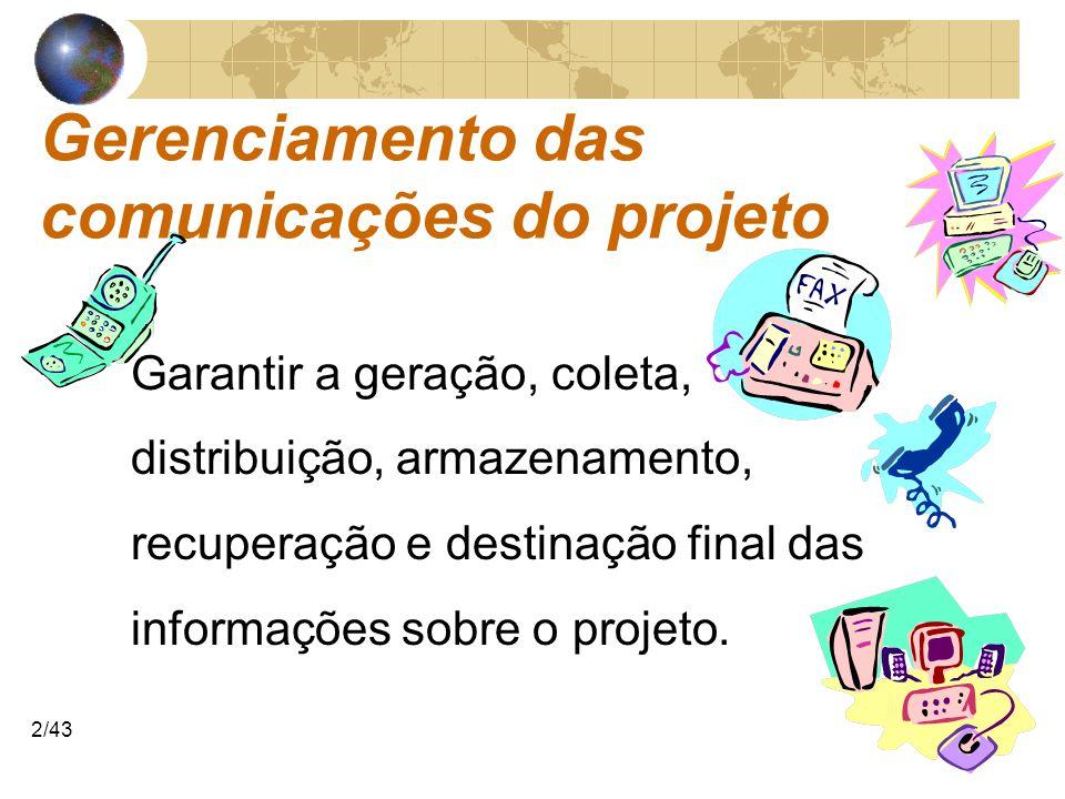 COMUNICAÇÕESCOMUNICAÇÕES 2/43 Gerenciamento das comunicações do projeto Garantir a geração, coleta, distribuição, armazenamento, recuperação e destina