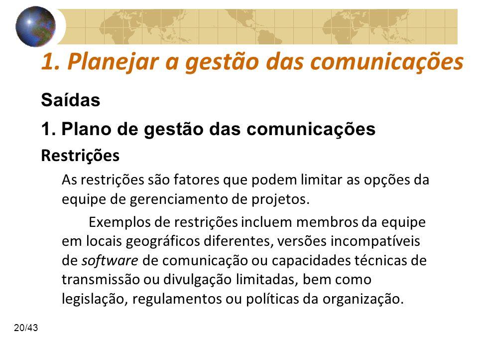 COMUNICAÇÕESCOMUNICAÇÕES 20/43 1. Planejar a gestão das comunicações Saídas 1. Plano de gestão das comunicações Restrições As restrições são fatores q