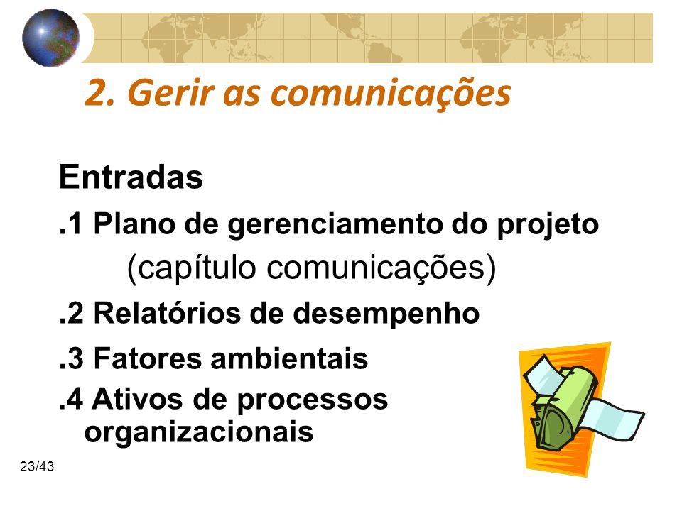 COMUNICAÇÕESCOMUNICAÇÕES 23/43 2. Gerir as comunicações Entradas. 1 Plano de gerenciamento do projeto (capítulo comunicações). 2 Relatórios de desempe