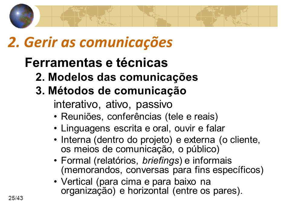 COMUNICAÇÕESCOMUNICAÇÕES 25/43 2. Gerir as comunicações Ferramentas e técnicas 2. Modelos das comunicações 3. Métodos de comunicação interativo, ativo
