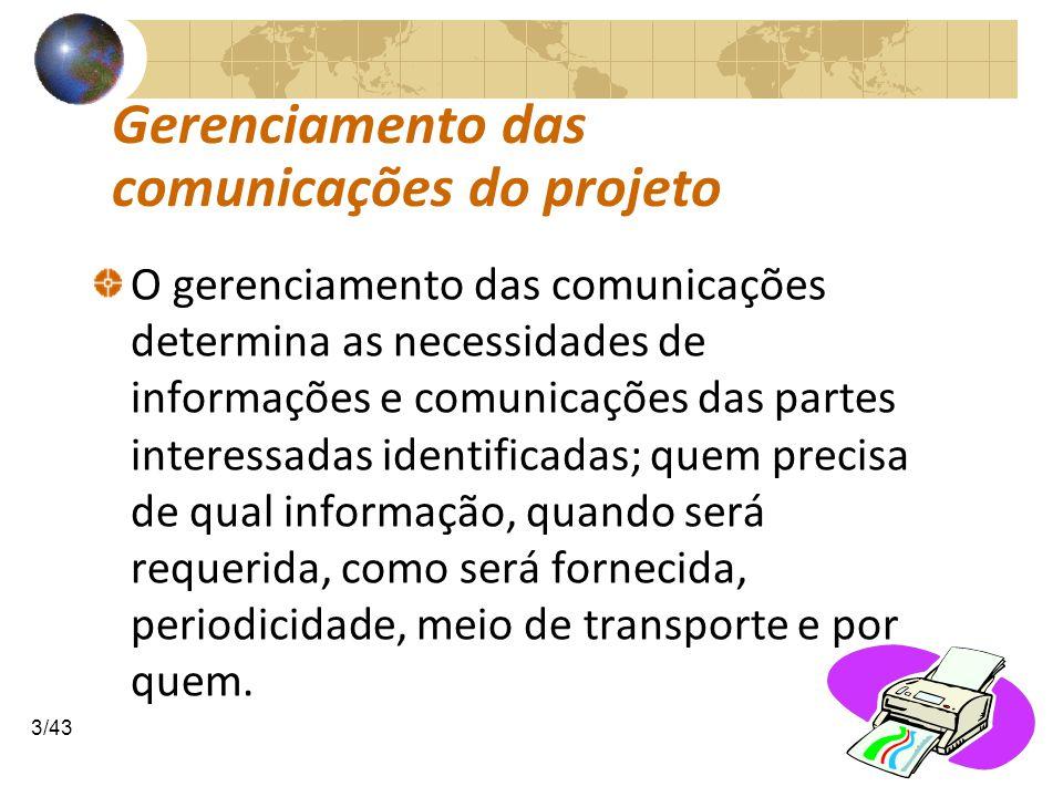COMUNICAÇÕESCOMUNICAÇÕES 4/43 Gerenciamento das comunicações do projeto.1 Planejar a gestão das comunicações Determinar as pessoas e organizações que afetam, influem ou contribuem para o sucesso ou fracasso do projeto, baseado nas informações de suas disponibilidades, necessidades e requisitos.