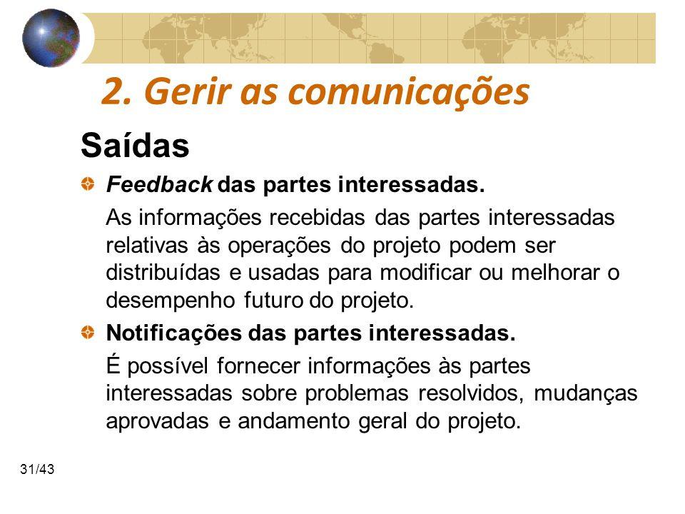 COMUNICAÇÕESCOMUNICAÇÕES 31/43 2. Gerir as comunicações Saídas Feedback das partes interessadas. As informações recebidas das partes interessadas rela