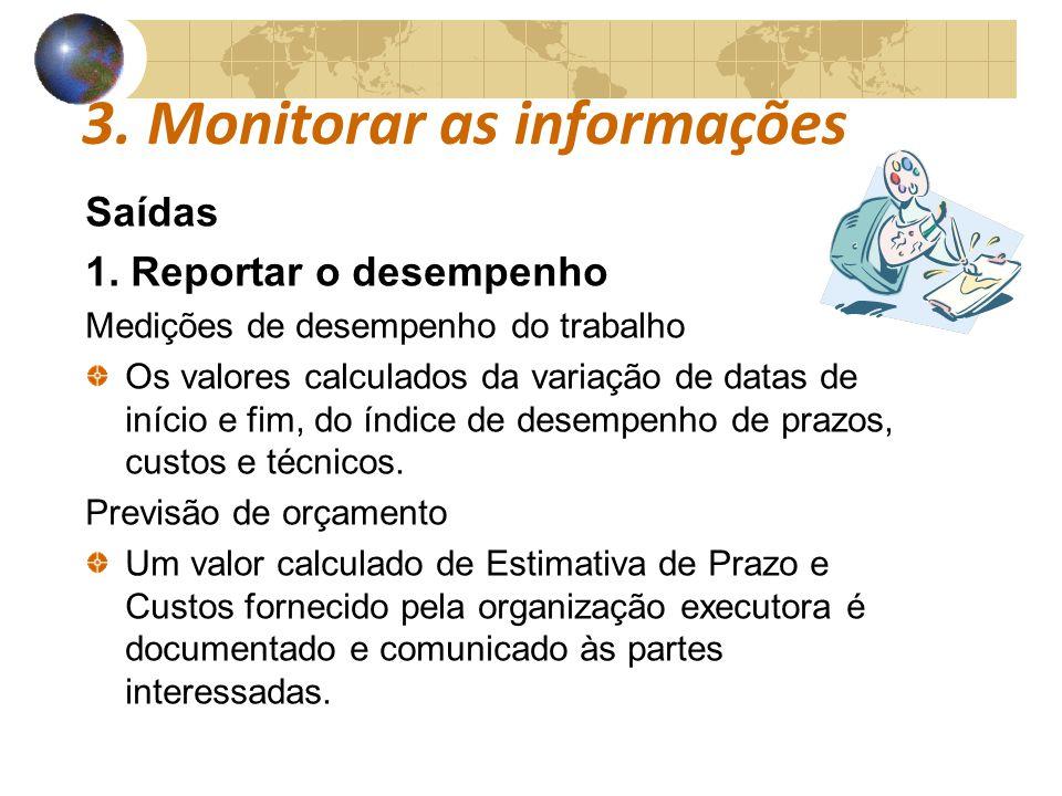 COMUNICAÇÕESCOMUNICAÇÕES 3. Monitorar as informações Saídas 1. Reportar o desempenho Medições de desempenho do trabalho Os valores calculados da varia
