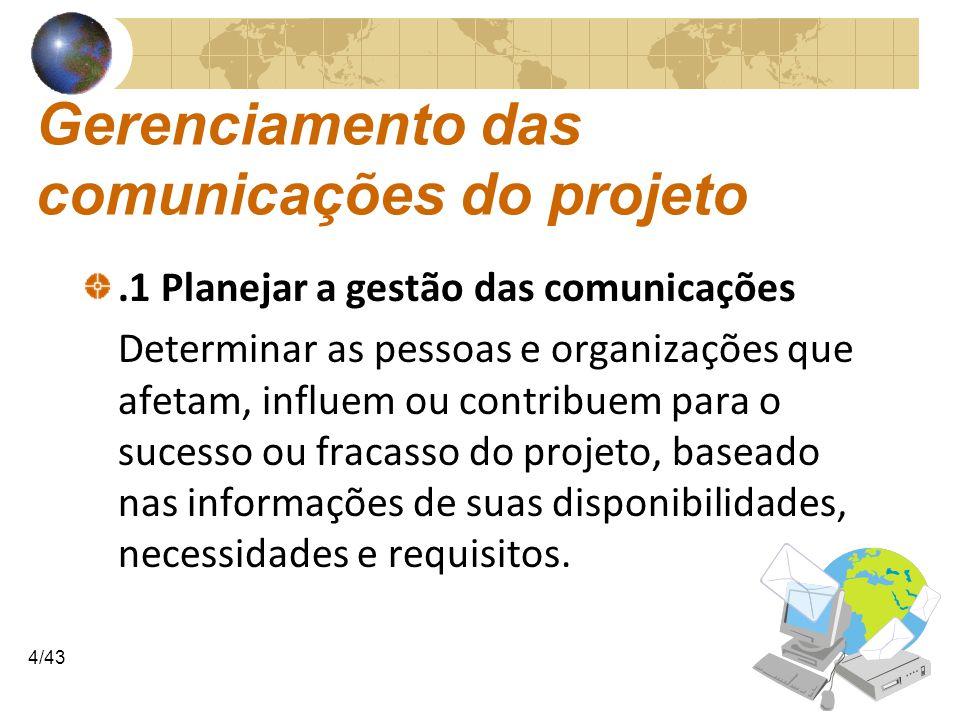 COMUNICAÇÕESCOMUNICAÇÕES 4/43 Gerenciamento das comunicações do projeto.1 Planejar a gestão das comunicações Determinar as pessoas e organizações que