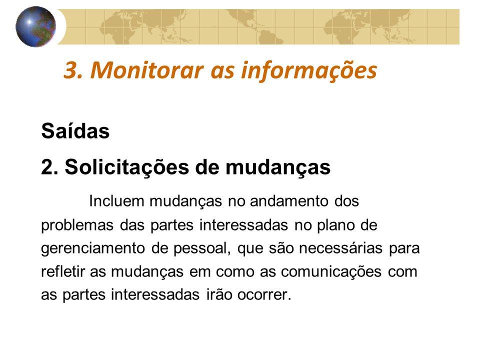 COMUNICAÇÕESCOMUNICAÇÕES 3. Monitorar as informações Saídas 2. Solicitações de mudanças Incluem mudanças no andamento dos problemas das partes interes