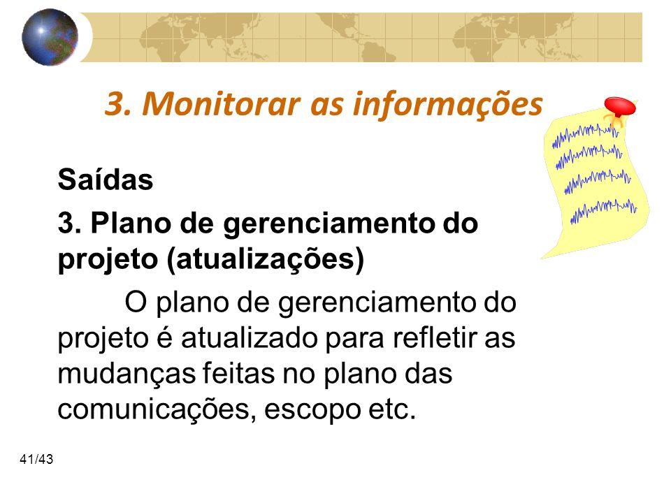 COMUNICAÇÕESCOMUNICAÇÕES 41/43 3. Monitorar as informações Saídas 3. Plano de gerenciamento do projeto (atualizações) O plano de gerenciamento do proj
