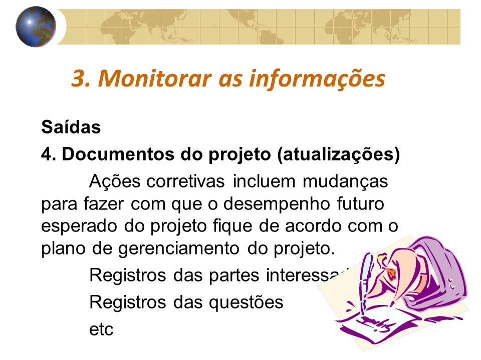 COMUNICAÇÕESCOMUNICAÇÕES 3. Monitorar as informações Saídas 4. Documentos do projeto (atualizações) Ações corretivas incluem mudanças para fazer com q