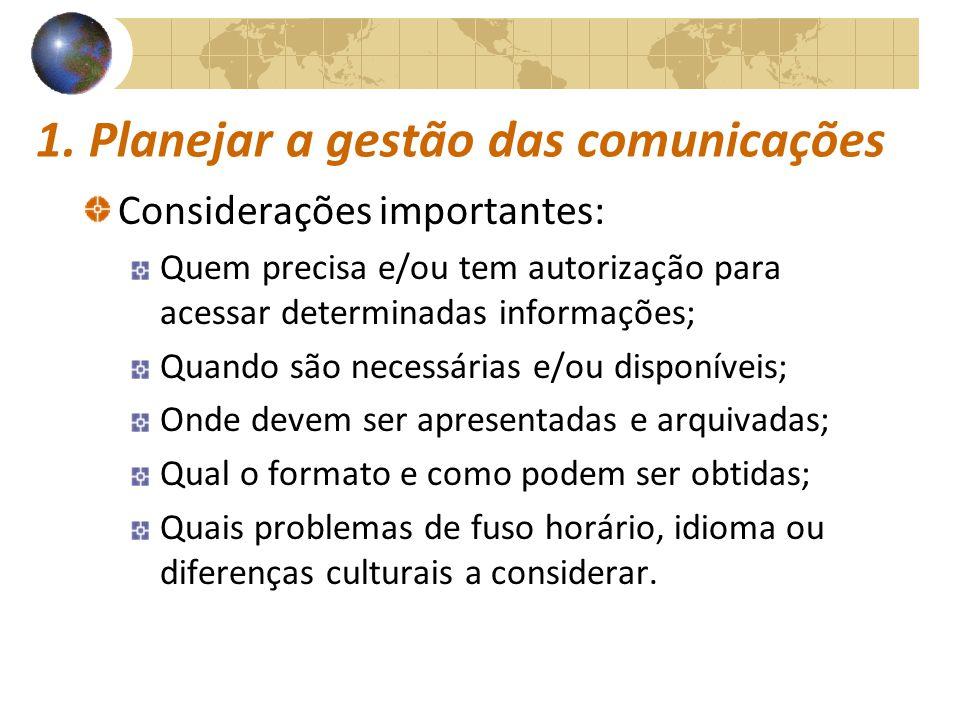 COMUNICAÇÕESCOMUNICAÇÕES 1. Planejar a gestão das comunicações Considerações importantes: Quem precisa e/ou tem autorização para acessar determinadas