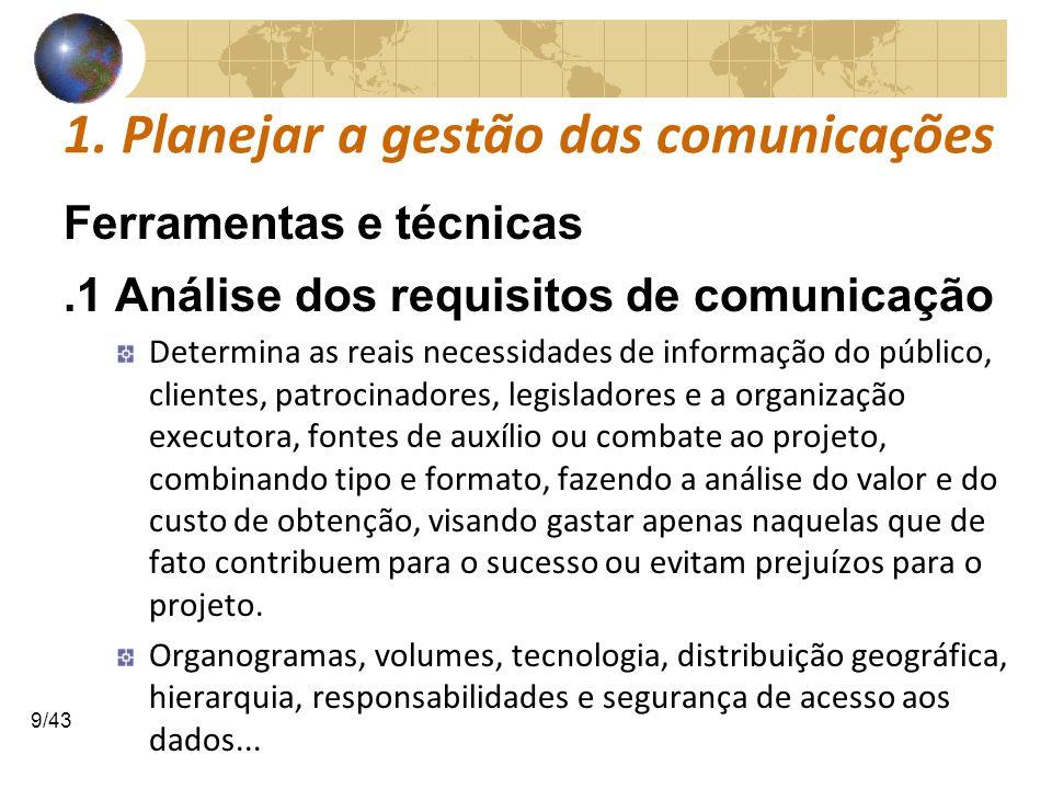 COMUNICAÇÕESCOMUNICAÇÕES 9/43 1. Planejar a gestão das comunicações Ferramentas e técnicas.1 Análise dos requisitos de comunicação Determina as reais