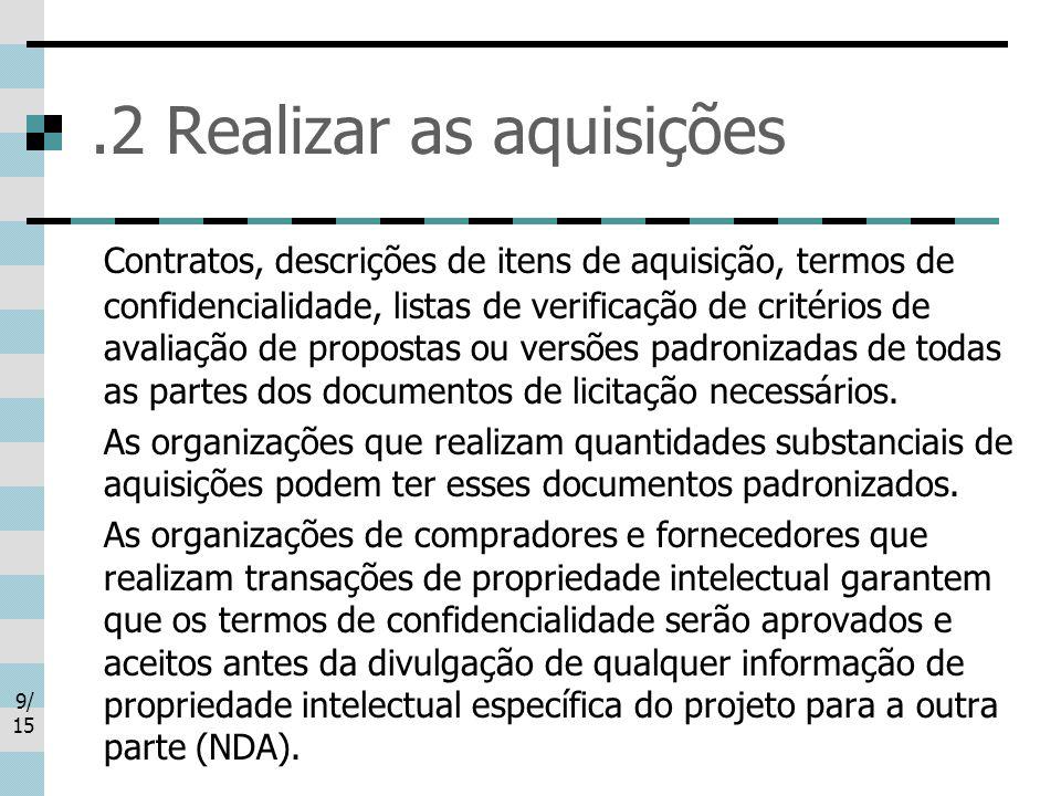 9/ 15.2 Realizar as aquisições Contratos, descrições de itens de aquisição, termos de confidencialidade, listas de verificação de critérios de avaliação de propostas ou versões padronizadas de todas as partes dos documentos de licitação necessários.