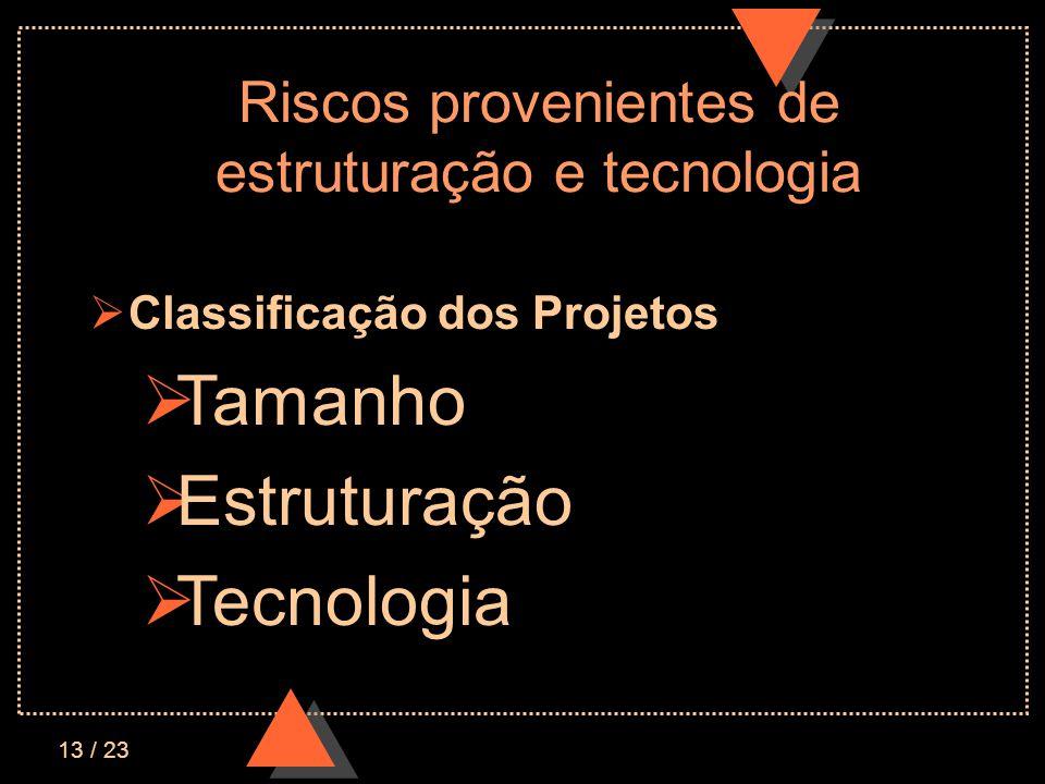 13 / 23 Riscos provenientes de estruturação e tecnologia Classificação dos Projetos Tamanho Estruturação Tecnologia