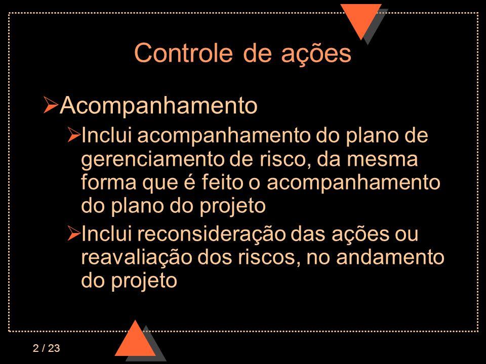 23 / 23 Avaliação do grau de risco ESTRUTURA ORGANIZACIONAL Quantidade e Impacto das mudanças Necessidade de mudança organizacional Envolvimento gerencial Equipe do projeto