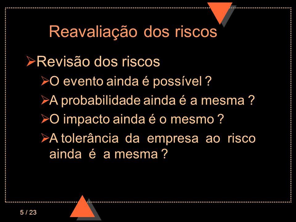 5 / 23 Reavaliação dos riscos Revisão dos riscos O evento ainda é possível .