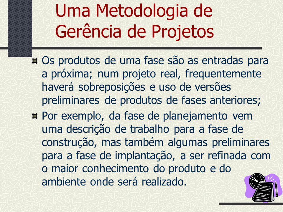 Uma Metodologia de Gerência de Projetos Os produtos de uma fase são as entradas para a próxima; num projeto real, frequentemente haverá sobreposições