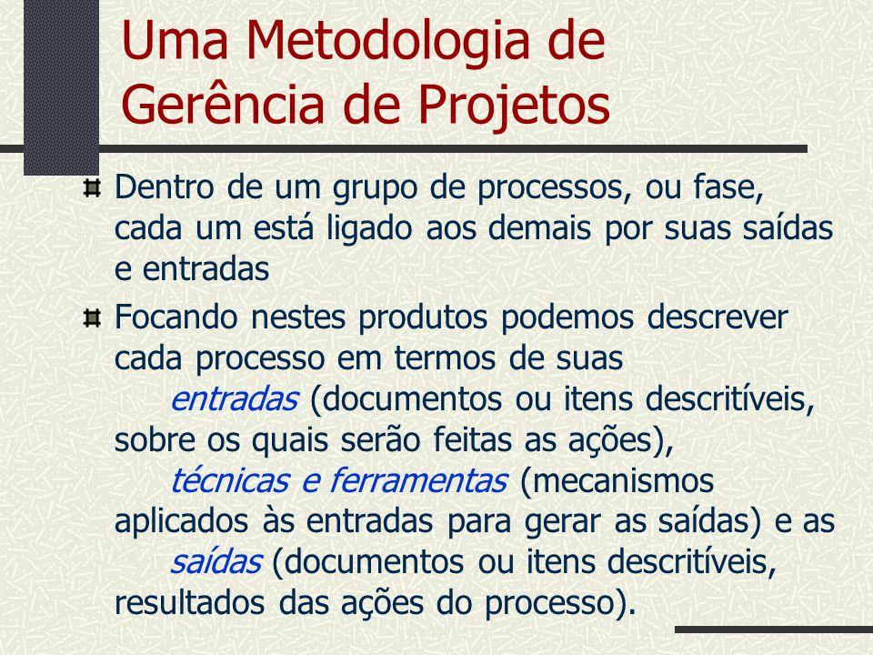 Uma Metodologia de Gerência de Projetos Dentro de um grupo de processos, ou fase, cada um está ligado aos demais por suas saídas e entradas Focando ne