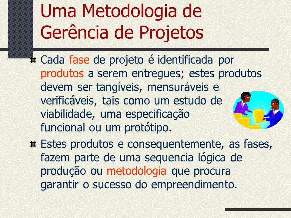 Uma Metodologia de Gerência de Projetos Cada fase de projeto é identificada por produtos a serem entregues; estes produtos devem ser tangíveis, mensur