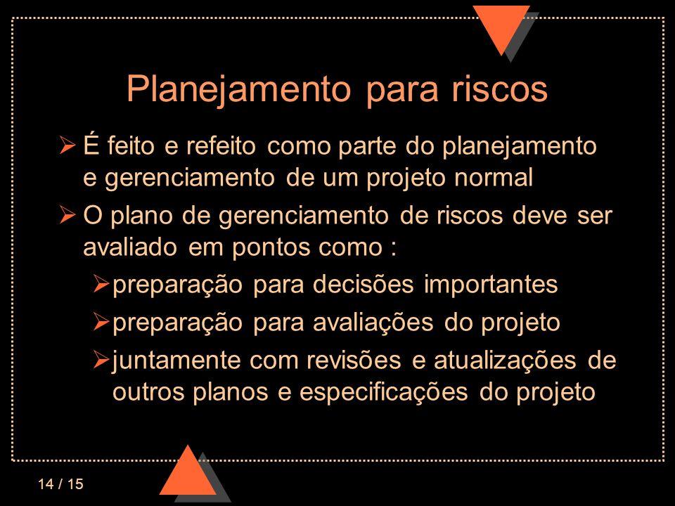 14 / 15 Planejamento para riscos É feito e refeito como parte do planejamento e gerenciamento de um projeto normal O plano de gerenciamento de riscos