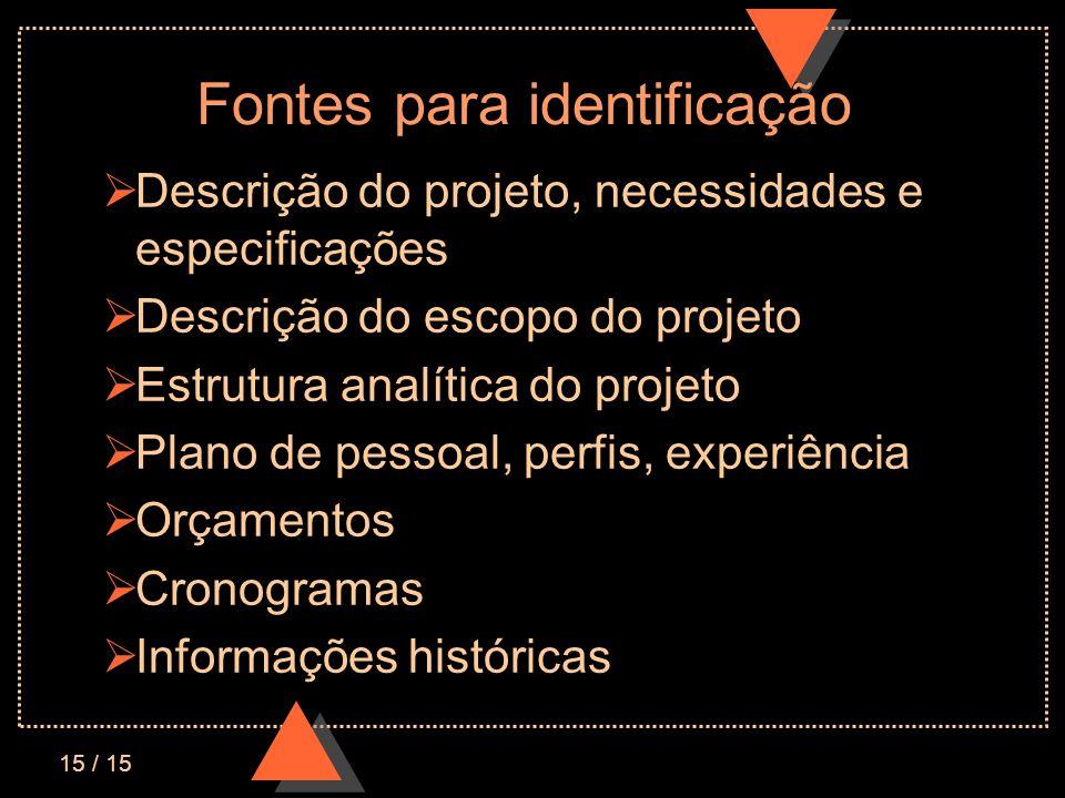 15 / 15 Fontes para identificação Descrição do projeto, necessidades e especificações Descrição do escopo do projeto Estrutura analítica do projeto Pl