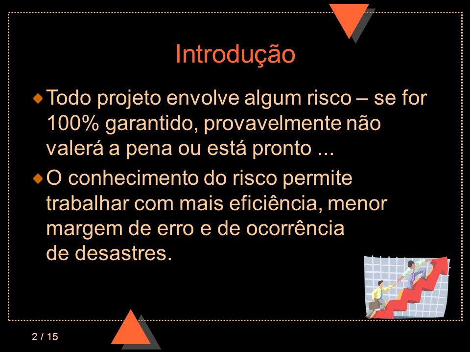 2 / 15 Introdução Todo projeto envolve algum risco – se for 100% garantido, provavelmente não valerá a pena ou está pronto...