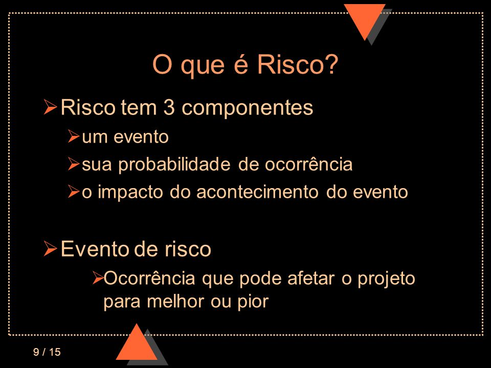 9 / 15 O que é Risco? Risco tem 3 componentes um evento sua probabilidade de ocorrência o impacto do acontecimento do evento Evento de risco Ocorrênci
