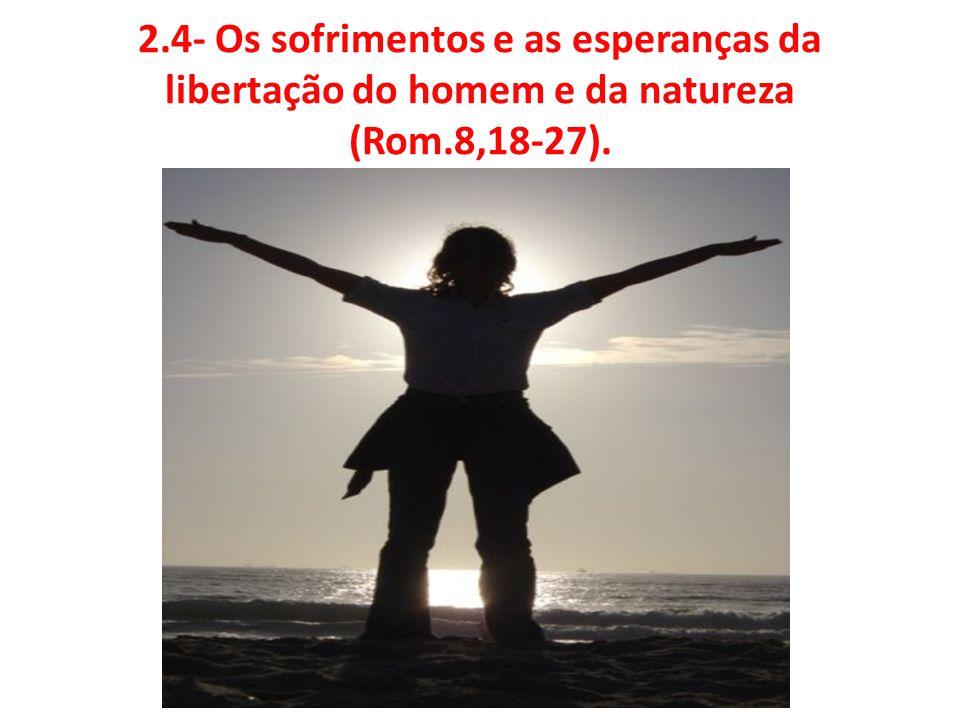 2.4- Os sofrimentos e as esperanças da libertação do homem e da natureza (Rom.8,18-27).
