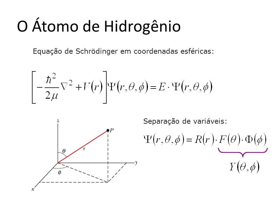 O Átomo de Hidrogênio Equação de Schrödinger em coordenadas esféricas: Separação de variáveis: