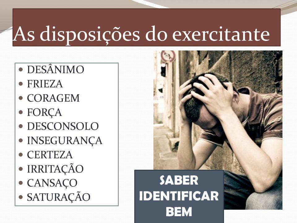 DESÂNIMO FRIEZA CORAGEM FORÇA DESCONSOLO INSEGURANÇA CERTEZA IRRITAÇÃO CANSAÇO SATURAÇÃO SABER IDENTIFICAR BEM