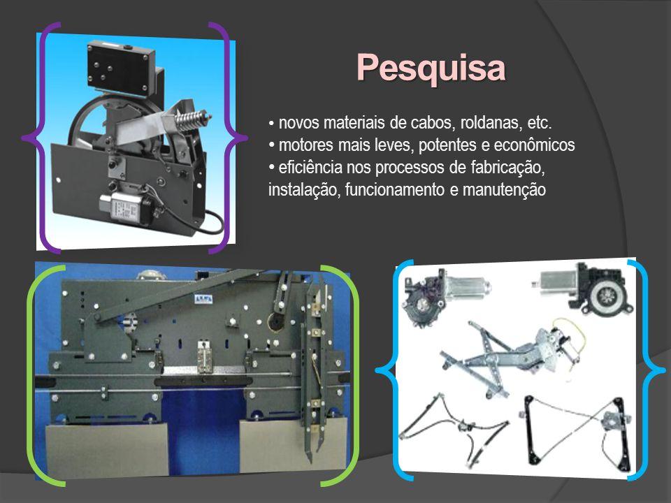Pesquisa novos materiais de cabos, roldanas, etc. motores mais leves, potentes e econômicos eficiência nos processos de fabricação, instalação, funcio