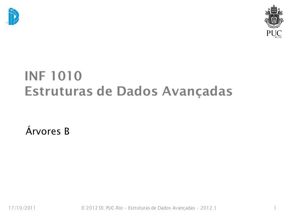 INF 1010 Estruturas de Dados Avançadas Árvores B 17/10/20111© 2012 DI, PUC-Rio Estruturas de Dados Avançadas 2012.1