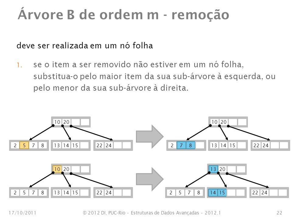 Árvore B de ordem m - remoção deve ser realizada em um nó folha 1. se o item a ser removido não estiver em um nó folha, substitua-o pelo maior item da