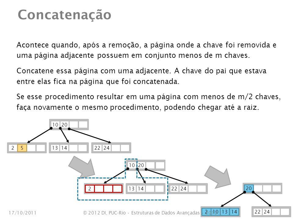 Concatenação Acontece quando, após a remoção, a página onde a chave foi removida e uma página adjacente possuem em conjunto menos de m chaves. Concate