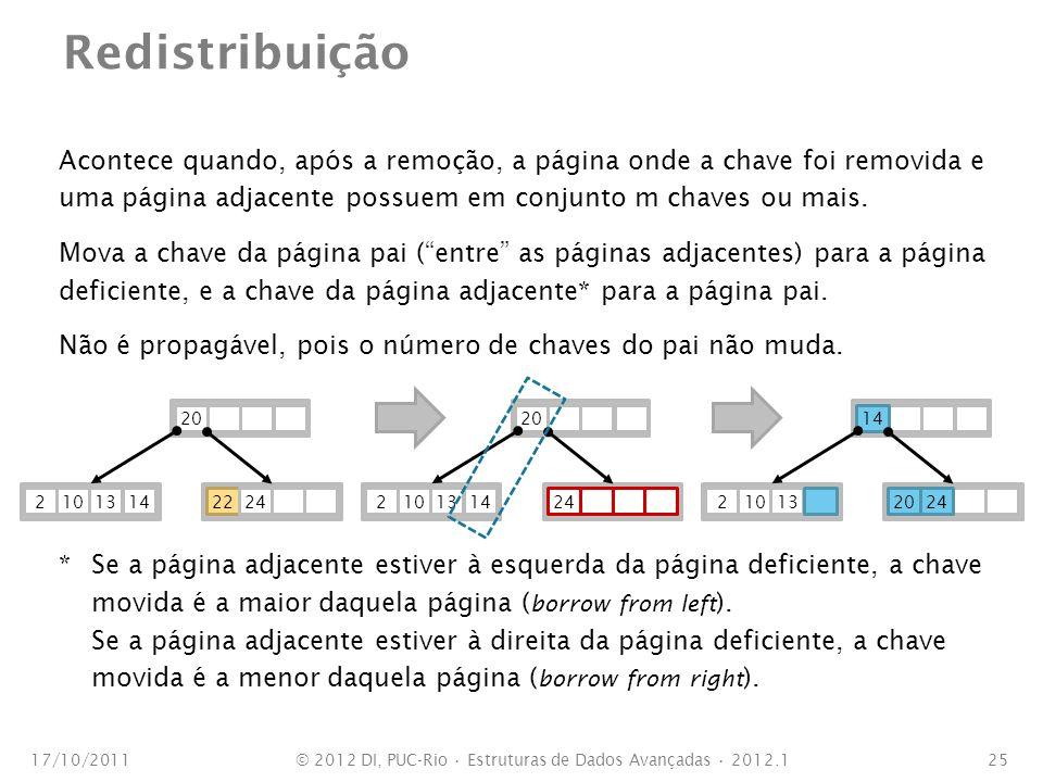 Redistribuição Acontece quando, após a remoção, a página onde a chave foi removida e uma página adjacente possuem em conjunto m chaves ou mais. Mova a